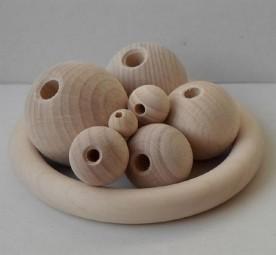 Holzkugeln 20 mm Ø mit Halbbohrung